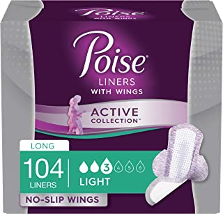 Poise Active Collection Incontinence Liners with Wings, Long, Light Absorbency, 104 Count..