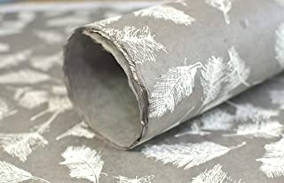 Kathmandu Valley Co. Wrapping Paper Handmade from Tree-Free Lokta Paper. Reusable Gift Wrap 10 Sheets 20x30 inches. Made in Nepal. (Grey Feather)