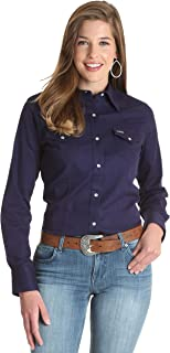 Wrangler Women's Long Sleeve Chambray Snap Front Western Shirt