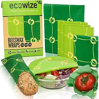 Set di 8 involucri in cera dapi ecologici alternativa alla pellicola Uarter lavabili e riutilizzabili per ciotole per formaggio e sandwich in cera dapi