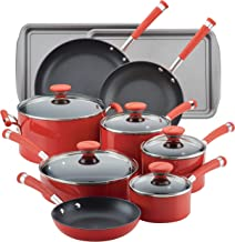 Circulon Acclaim Nonstick Cookware Pots and Pans Set, 15 Piece, Red