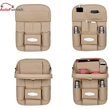Autofurnish 3D Car Auto Seat Back Multi Pocket Storage Bag Organizer with Car Meal Tray