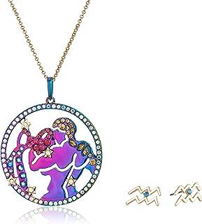 Betsey Johnson Women's Aquarius Zodiac Necklace and Earrings Set, Multi, One Size