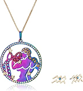 Betsey Johnson Women's Aquarius Zodiac Necklace and Earrings Set, Multi, One Size