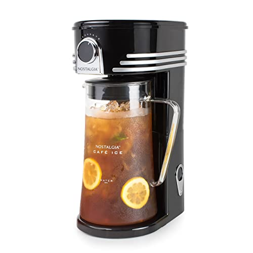 Nostalgia CI3BK Iced Coffee Maker and Tea Brewing System, Glass Pitcher, 3 Quart,
