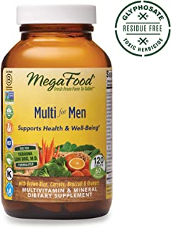 MegaFood - Multi for Men - Supports Optimal Health and Wellbeing, Multivitamin and Mineral Dietary Supplement, Gluten Free, Vegetarian, 120 Tablets (60 Servings)