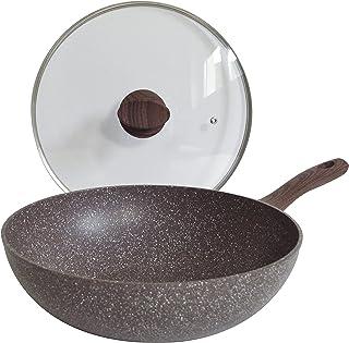 Pinti Wok en aluminium avec couvercle Ø 28 cm