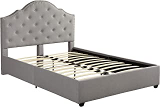 Christopher Knight Home Gentry Queen-Size Bed Frame Fully-Upholstered Button-Tufted Light Gray