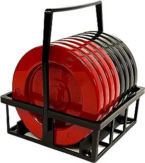 Allen R. Shuffleboard Recreation Discs (Red & Black) with Disc Carrier