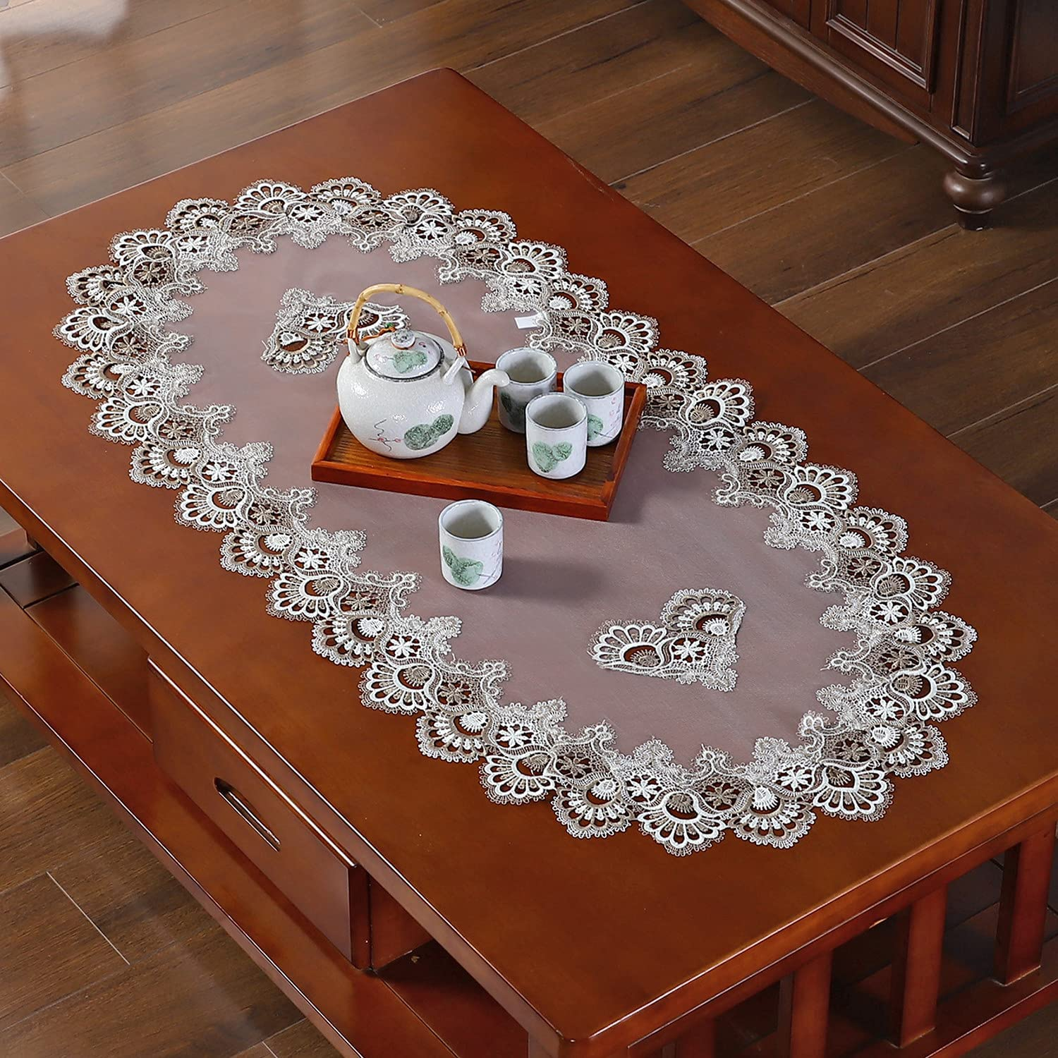 QsyyHome Oval Small Lace Delicate Embroidery Translucent Hollow Carved Table Runner Dresser Scarf Table Top Decoration Linen Gray 16 x 35 inches
