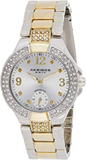 Akribos Xxiv Women's Ak775Ttg Swiss Quartz Movement Watch With Silver Dial and Diamond Hour Markers, Two Tone Band, Analog...