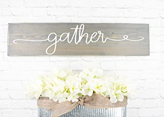 Gray Gather Wooden Sign - Rustic Thanksgiving Decor - Handmade Farmhouse Holiday - Family Room Wall Decor