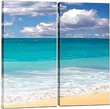 Canvas Wall Art Decor - 12x24 2 Piece Set (Total 24x24 inch) - Blue Ocean Beach - Decorative & Modern Multi Panel Split Canvas Prints for Dining & Living Room, Kitchen, Bathroom, Bedroom & Office