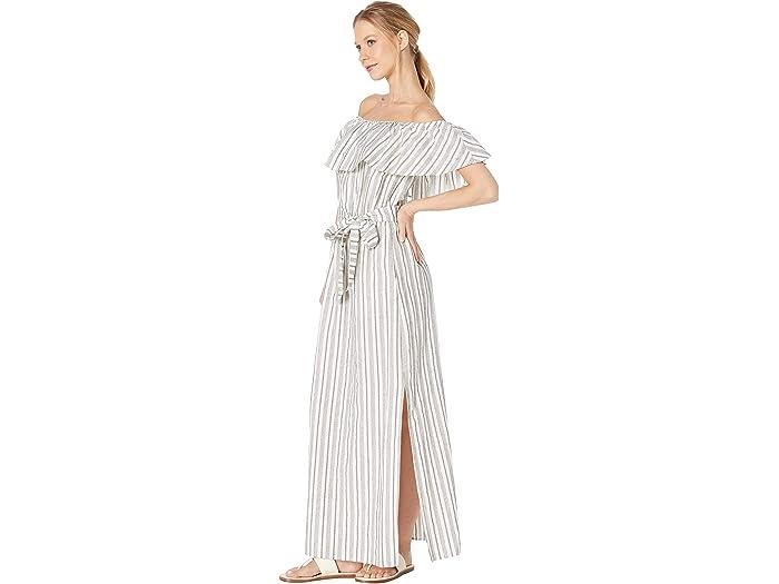 1.state Fuera Del Hombro Striped Algodón Jacquard Vestido Maxi Ultra White Dresses