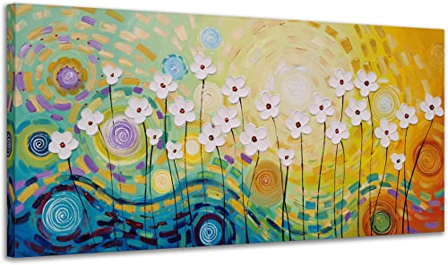Yihui Arts White Flower Canvas Wall Art Hand Painted 3D Colorful Oil Painting Modern Aestheric Pictures for Living Ro...