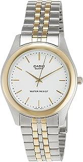 ساعة انتايسر للرجال من كاسيو، مينا بيضاء بلونين وسوار من الستانلس ستيل [MTP-1129G-7A]