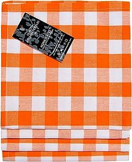 HOMESCAPES Serviettes de Table à Grands Carreaux Vichy, Lot de 4, Linge de Table en Coton uni, Orange