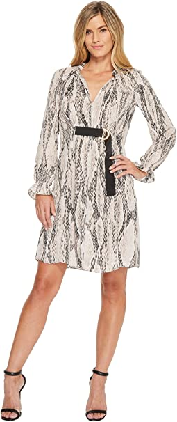 Ellen Tracy Georgette Printed Shirt Dress