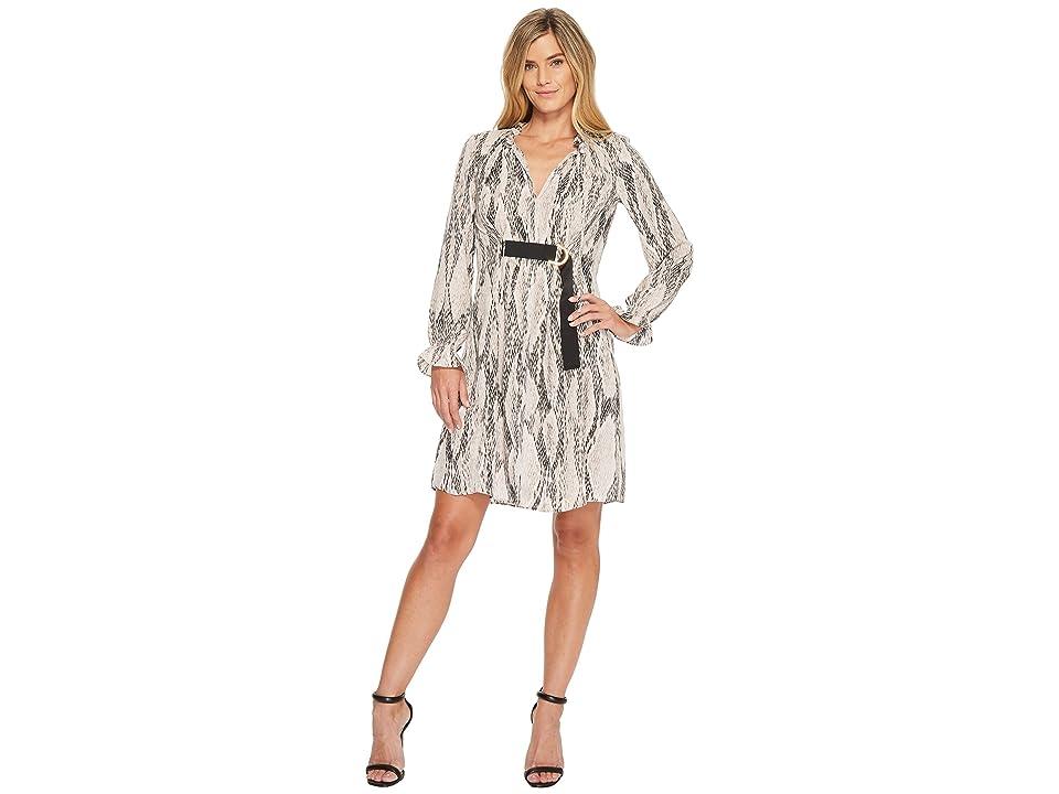 Ellen Tracy Georgette Printed Shirt Dress (Serene Snake Neutral) Women