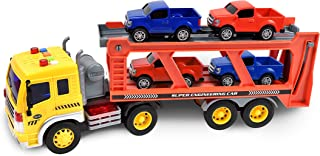 Sunny Days Entertainment Long Haul Vehicle Transport – Lights and Sounds Pull Back Toy Vehicle with Friction Motor | Includes 4 Die Cast Pick Up Trucks – Maxx Action (101744)