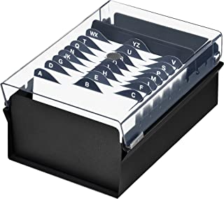 Acrimet 3 x 5 Card File Holder Organizer Metal Base Heavy Duty (AZ Index Cards and Divider Included) (Black Color with Crystal Plastic Lid Cover)