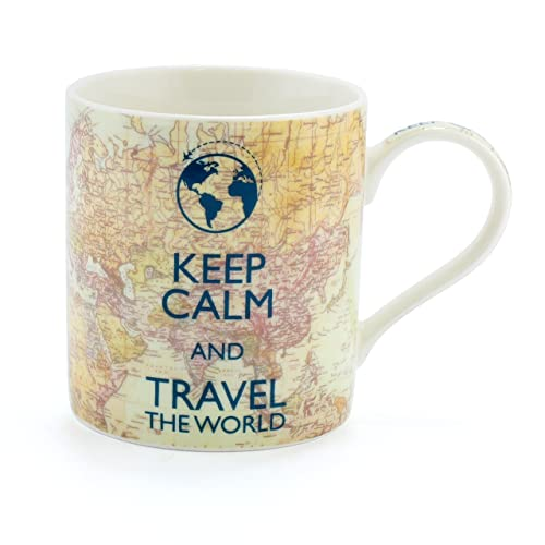 Vintage Keep Calm and Travel The World Ceramic Fine China Mug - A Unique  Something Different 9866bf936