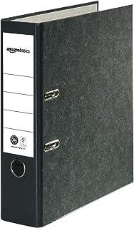 Amazon Basics Classeur à levier - Couverture en papier marbré, certifié FSC, A4, tranche 80 mm, Lot de 10, Noir