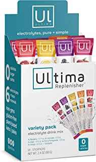 Ultima Replenisher Electrolyte Hydration Powder, Variety Pack, 20 Count Stickpacks - Sugar Free, 0 Calories, 0 Carbs - Glu...