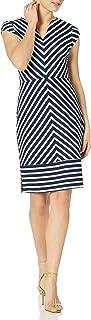 Sharagano Women's Cap Sleeve Stripe Dress