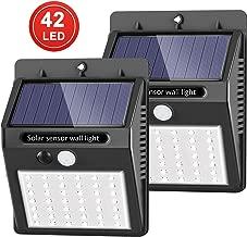 [42 LED mejorados] SEZAC Luces solares Luces con sensor de movimiento solar para exteriores, Luces de seguridad inalámbricas a prueba de agua para el garaje del jardín Camino (paquete de 2)