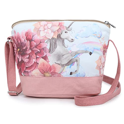 5398f0627832 Crest Design Whimsical Canvas Cross-body Shoulder Bag for Girls and  Teenagers