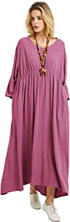 Anysize Loose Linen Cotton Three Quarter Sleeve Dress Spring Summer Fall Plus Size Clothing F173A