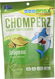 SeaSnax Chomperz Crunchy Seaweed Chips JALAPENO 1 oz - 8 Count Seaweed Snacks With the Salty Crunch of Chips and Rice
