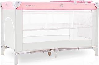 Kinderreisebett klappbar Laufstall Baby Kinderbett tragbare Zustellbett Infantastic Beistellbett Babycenter mit Matratze Seiteneingang Wickelauflage Tragetasche ab Geburt bis 15 kg Beige  Pink