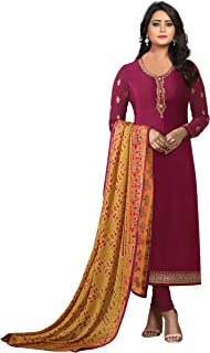 Ethnic Yard Womens Royal Crepe Straight Embroidered Semi Stitched Salwar Suit