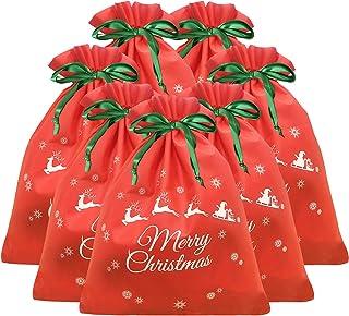 7 Packs 11.8 x 15.5 Christmas Drawstring Gift Bag Xmas Present Wrapping bags Party Favor Green