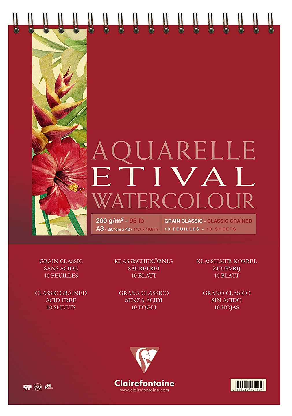 Clairefontaine Etival Classic Grained Wirebound Pad, A3, 200 g, 10 Sheets