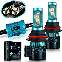 Glowteck LED Headlight Bulbs Conversion Kit - 9007(HB3) CREE XHP50 Chip 12000 Lumen/Pair 6K Extremely Bright 68w Cool White 6500K For Bright & Greater Visibility 2 Year Warranty