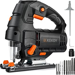 Jigsaw, 800W 3000 SPM Electric Jig Saws with Powerful Copper Motor, 6 Variable Speed, 10 Piece T-Shank Blades, 4 Orbital S...