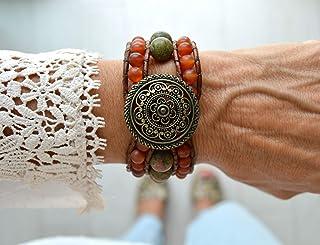 Bracciale Boho in cuoio e pietre naturali, Gioielli di moda per donna