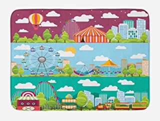 Ambesonne Circus Bath Mat, Conceptual City Banners with Carousels Slides and Swings Ferris Wheel Attraction, Plush Bathroom Decor Mat with Non Slip Backing, 29.5