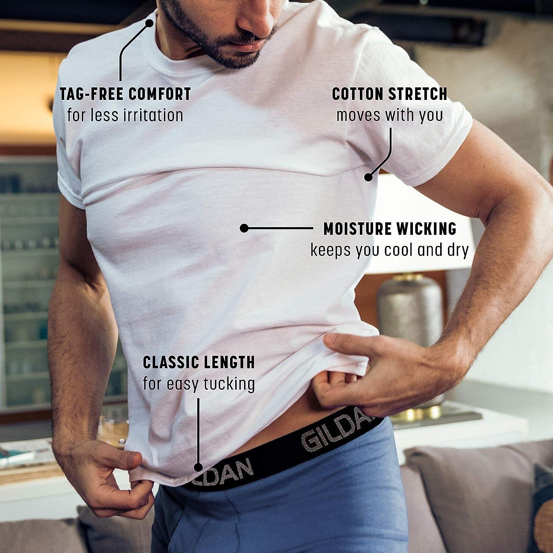 Gildan Men's Cotton Stretch Crew T-Shirts, 3-Pack |