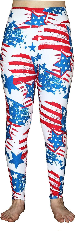 Jurish Designs Patriotic Leggings with Stars & Stripes, Red, White and Blue, USA Print