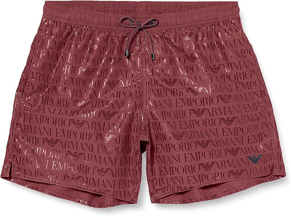 Emporio armani swimwear boxer beachwear allover logo, costume da bagno per uomo K9MC000201