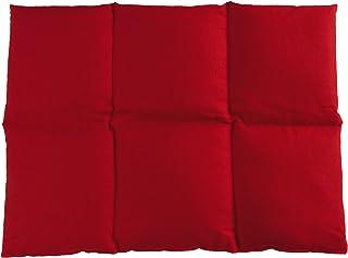 Coussin aux graines de lin 40x30-6 compartiments - Rouge - Coton Bio - Coussin thermique - Coussin aux graines - Bouillott...