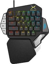 Teclado de juego para una sola mano, JTD 33-Key Ergonomic Wired Keyboard, Teclado de juego mecánico programable profesional, LED con retroiluminación Teclado para juegos con una mano y reposamanos