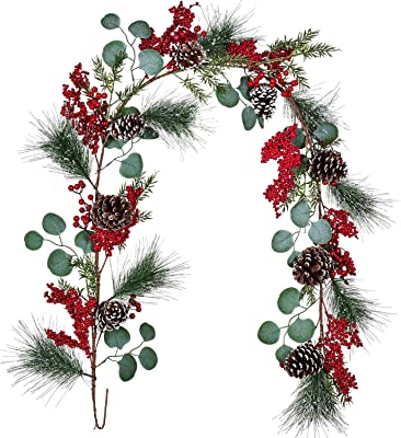 6ft Artificial Greenery Garland with R Red Berry Garland Christmas Decoration