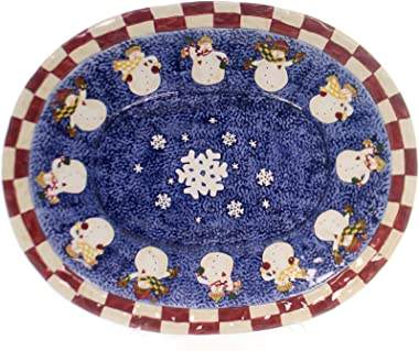 BOYDS BEARS RESIN Burts Bundle Up Platter, Ceramic, Snowmen Heart Winter, Decorative Platters, 390033