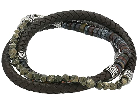 John Hardy 6 mm Classic Chain Silver Triple Wrap Bracelet on Brown Leather with Hook Clasp