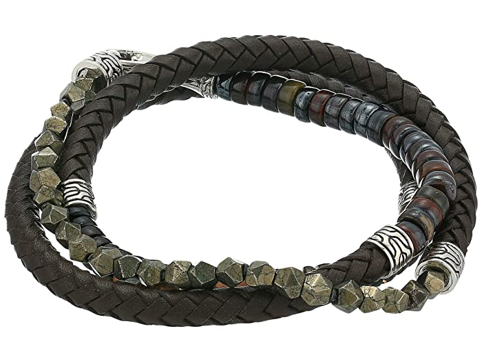 John Hardy  6 mm Classic Chain Silver Triple Wrap Bracelet on Brown Leather with Hook Clasp (Brown) Bracelet